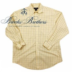 Brooks Brothers Yellow Plaid Button Up Large Men's